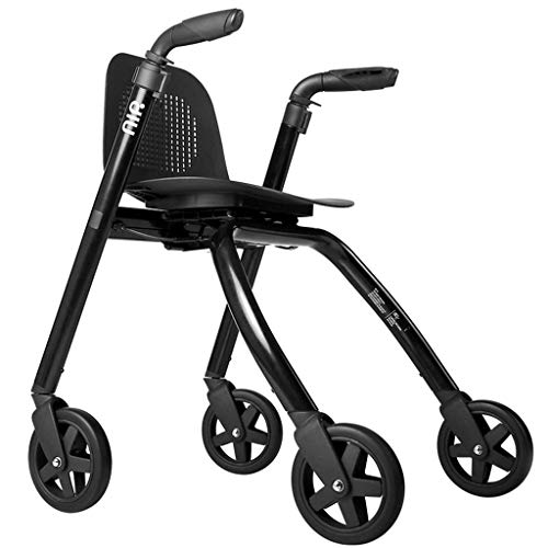 RVTYR Rollator Leichtklapp Walker Laufgestell mit 4-Rad-Padded Sitz verstellbar Höhe Gehen Mobilitätshilfe Transit Stuhl gehwagen für senioren (Color : Black)