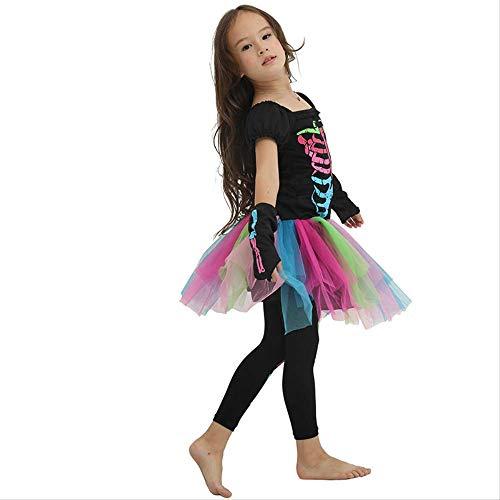WSJDE Halloween-Kostüm für Kinder Hexentier Prinzessin Mädchen beängstigend Skelett Kinder Kind beängstigend Clown Kostüme Kind Kostüm Party L.