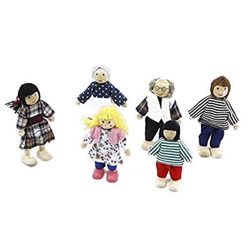 WINOMO 6pcs Marionnettes Jouets Dessin Animé Famille Poupées en Bois pour Enfants Jouent Maison Cadeau