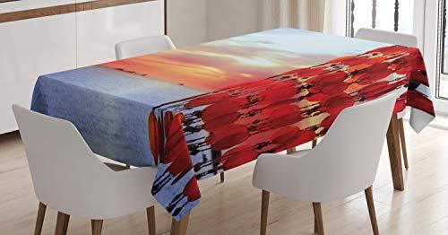 ABAKUHAUS strand Tafelkleed, Dreamcatcher Ibiza Sunset, Eetkamer Keuken Rechthoekige tafelkleed, 140 x 170 cm, Red Blue Coral