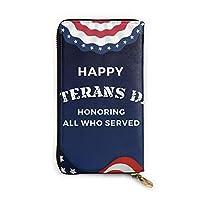 Happy Veterans Day (1) 長財布 メンズ レディース 本革 マネークリップ 大容量 多機能 レザーウォレット ビジネス 本革製 12カード入れ
