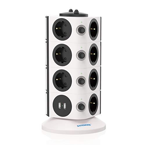 SAFEMORE Mehrfachsteckdosen Steckdosenleiste Mehrfachstecker Verteilersteckdose 15 Fach mit 2 USB Steckdosenturm Überspannungsschutz einzeln schaltbar 2500W/10A mit 6,56ft / 2M Verlängerungskabel