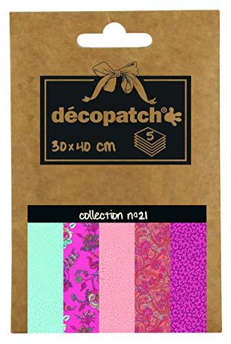 Décopatch DP021C – eine Packung mit 5 Blatt bedrucktes Papier, 30 x 40 cm, Verschiedene Motive (Referenznummern 701-711-698-712 und 710)