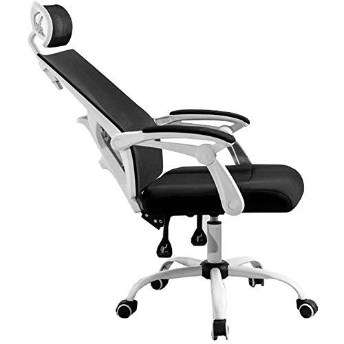 JIEER-C Slaapkamers Ergonomische bureaustoel Verstelbare lumbale steun Multifunctionele hoofdsteun Moderne High-Back bureaustoel Kantelslot functie Leergewicht 130kg (Kleur : Wit) Kleur: wit