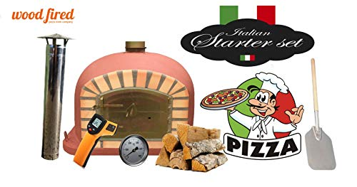 Brick Red Deluxe Wood Fired Pizza Oven Starter Kit, Orange Arch, Gold Door, 80cm x 80cm