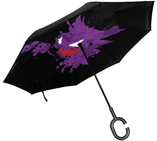 qinhanxinchengxianlibaihuodian Monster der Tasche Alpollo Abstrakt Double Layer Inverted Regenschirm für Auto-Reverse-Folding den Kopf gestellt C-förmigen Hände - Leicht und Winddichtes & ndash