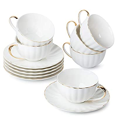 BTaT- Tea Cups and Saucers, Set of 6 (7 oz) with Gold Trim and Gift Box, Cappuccino Cups, Coffee Cups, White Tea Cup Set, British Coffee Cups, Porcelain Tea Set, Latte Cups, Espresso Mug, White Cup