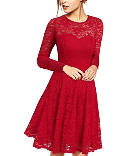 ZANZEA Donna Abito da Sera Vestito Cocktail Pizzo Maniche Lunghe Elegante Maxi Dress Slim Wedding 02-Rosso S