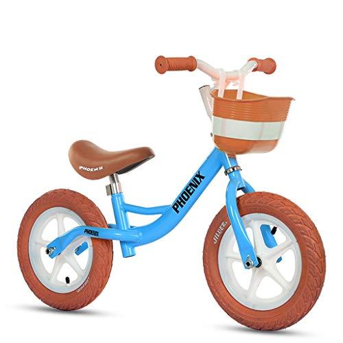 ZAQ Prima Bicicletta Bici Senza Pedali Bicicletta Specialized Balance Bike - Boy/Girl Push Bike per Indoor Outdoor Sport, Blu/Giallo (Colore : Blu)