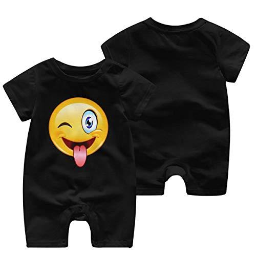 Mark Stars Emotee Emoticon Cute Face Girls Boy's Kid Baby Romper Short Sleeve Bodysuit Jumpsuit(0-3M,Black)