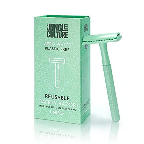 Jungle Culture Metal Safety Razor for Women & Men | Reusable Women's Razor & Travel Bag | Fits all Double Edge Razor Blades | Single Blade Eco Friendly Ladies Razor for Body & Face, Zero Waste Beauty