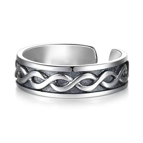 LYTOPTOP Damen Verstellbarer Ring aus Sterling Silber 925 mit Celtic Irish Knot, Celtic Schmuck