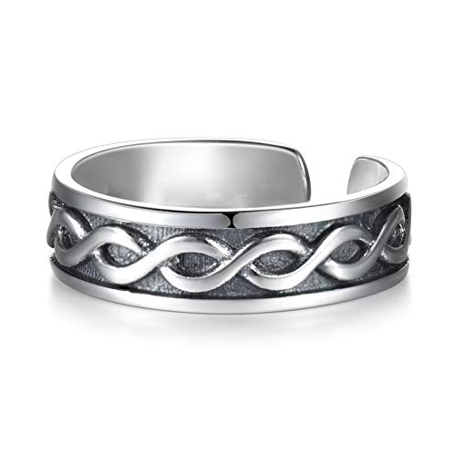 LYTOPTOP Women 925 Sterling Silver Thumb Ring Celtic Irish Knot Adjustable Open Ring Celtic Jewellery