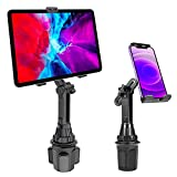 Lopnord Car Cup Holder Tablet Mount Compatible with Samsung Galaxy Z Fold 3 Flip 3 S21+ S20+, Cell Phone and ipad Stand for iPhone 13 12 11 Pro Max iPad Mini 6/5/4 , Adjustable 2 in 1 iPad Mount