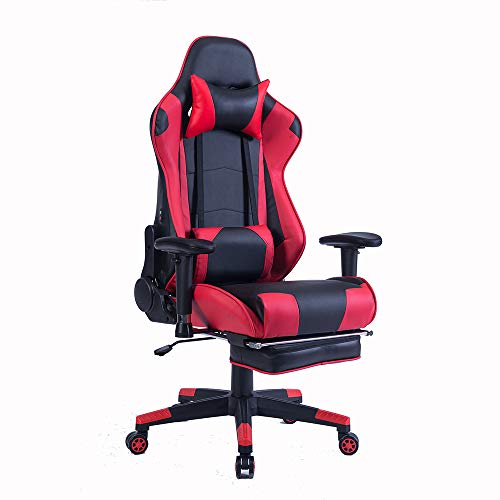 Wolmics Rückenmassage Gaming Stuhl mit Fußstütze,PC Computer Videospiel Racing Stuhl Hohe Rückenlehne Reclining Executive Ergonomic Office Desk Stuhl mit Kopfstütze Lordosenstütze Kissen (SM84-red)