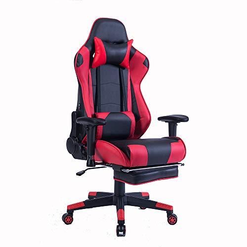 Wolmics Memory-Schaum Gaming Stuhl mit Fußstütze, Verstellbare Kopfstütze und Lordosenstütze,Ergonomische hohe Rückenlehne aus Leder .Exklusiver Computer-Bürostuhl (Weinrot)