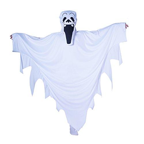 SEA HARE Costume Bianco del Fantasma del Capo di Halloween del Bambino (M:7-9 Anni)