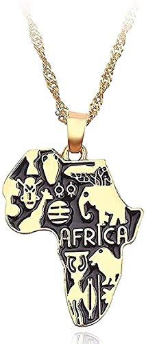 ZGYFJCH Co.,ltd Collar Mapa de áfrica Collar Bandera tótem Collar Animal Elefante Colgante Cadena de Color Dorado mapas africanos Collares Mujeres Hombres Gargantilla joyería