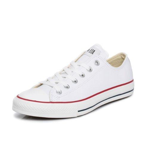Converse Chuck Taylor All Star Core Lea Ox, Baskets mode mixte adulte, Blanc (White), 43 EU