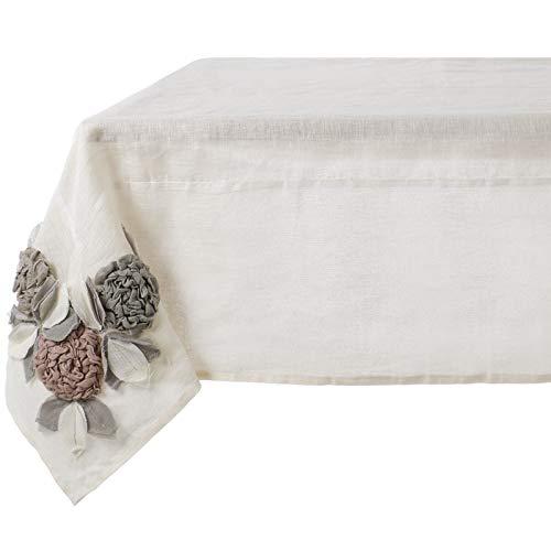 Blanc Mariclò Couvre-table avec fleurs 150 x 150 cm, 100 % lin, collection Rose Garden
