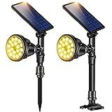 18 LED Solar Spot Lights Outdoor, IP65 Waterproof Landscape Spotlight Flood Lamps for Garden Lawn Backyard Patio Porch Wall Deck Garage (Warm White,2Pack)