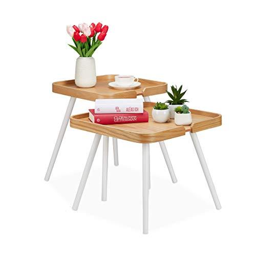 Relaxdays Beistelltisch 2er Set, quadratisch, Satztisch Holz, Wohnzimmer, Sofatisch mit Rand, H 41 & 47,5 cm, natur/weiß