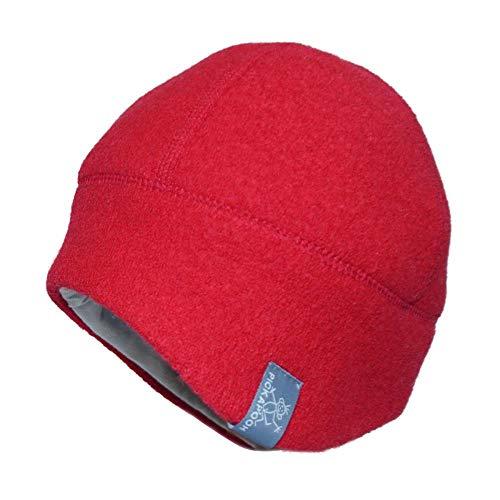 PICKAPOOH Kinder/Damen/Herren Mütze Milan Bio-Wollwalk Rot 52