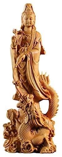 Escultura de escritorio Dragón Guanyin Bodhisattva Estatua Escultura Arte Decoración Estatua Sala de estar Madera sólida para Buda Madera Talla Estatuilla Tallado a mano Gifts