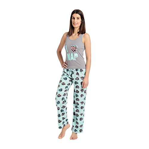 Body Candy Junior's Knit Pajama Tank Top with Luxe Fleece Sleep Pants, Gray, Large