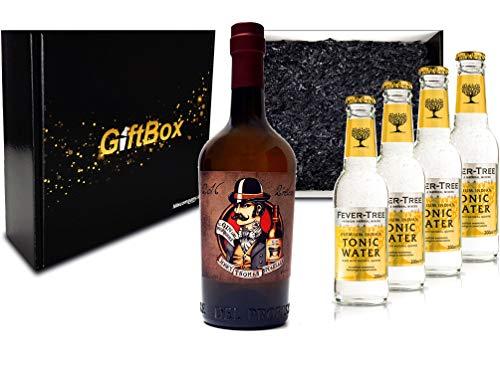 Gin Tonic Giftbox Geschenkset - Gin del Professore Monsieur 0,7l 700ml (43,7% Vol) + 4x Fever Tree Tonic Water 200ml inkl. Pfand MEHRWEG - [Enthält Sulfite]
