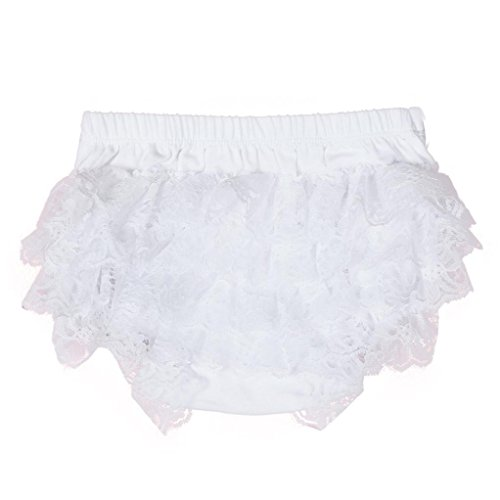 Longra Bébé Fille Bébé Enfant Culotte Pantalon sous-Vêtement en Coton Motif Mignon Dentelle Ébouriffer Nappy sous-vêtements Couche Couverture sous-vêtements Cul Pantalons (Blanc, S(Asia S=EU XS))