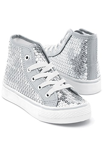 Balera Sequin High Top Dance Sneakers Silver 5AM