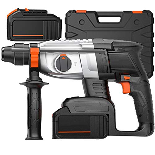 Rotary Hammer Drill, 21V Cordless Drill 3 in 1 Electric Impact Driver with SDS Chuck 360° Auxiliary Handle Brushless Motor Annex 1400RPM Multi-Function Tool, for Concrete and Stone,2 Battery