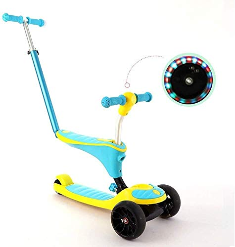 Best Price LAOHAO 3-in-1 Scooter with Push-Pull Child 4 Skating Flash 2-8 Years Old Scooter (Color :...