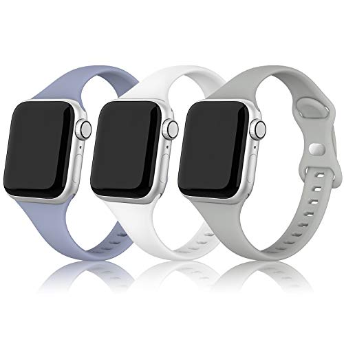 QusFy Silicone Band Compatible with Apple Watch 38mm 40mm, 3 Packs Sport Silicone Slim Narrow Thin Small Soft Replacement Strap Compatible with iWatch Series 6, 5, 4, 3, 2, 1, SE, Sport & Edition Women Men