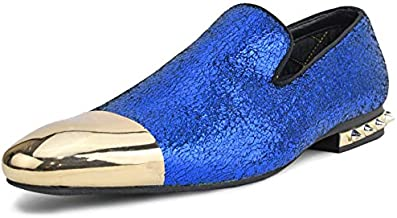 Amali Axel Mens Loafers Textured Metallic Colorful Smoking Slippers Spikes on Heel Metal Tip Dress Slip On Shoes for Men, Color Royal Blue, Size 9.5