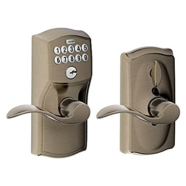 Schlage FE595 CAM 620 Acc Camelot Keypad Entry with Flex-Lock and Accent Levers, Antique Pewter