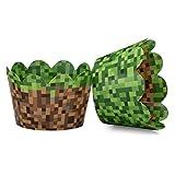 マイナーテーマのピクセルグラスカップケーキラッパー 男の子の誕生日パーティー用 ビンテージ 8ビット 誕生日パーティー 24個セットリバーシブルエンジニアグラスとグリーンピクセルカップケーキホルダーラップ。 グリーン、ブラウン、グレー