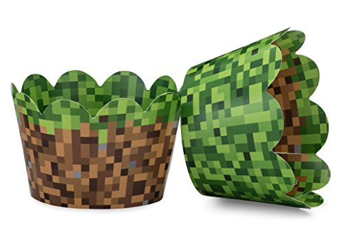 Miner Themed Pixel Grass Cupcake Wrappers, Set of 24