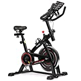 Birtech Exercise Bike Indoor Cycling Fitness Bike Spinning Bike for Home Training Belt Driven 8KG Flywheel with Infinite Resistance, Heart Rate Monitor, Adjustable Handlebars & Seat, LCD Display