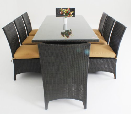 Outdoor&indoor Wicker Patio Furniture 9 Pc Dining Table Set with 8 Chairs
