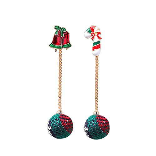 FENICAL 1 Par Pendientes de Navidad Sección Larga Asimetría Campana Pelota de Santa Claus Pendientes de Orejas y...