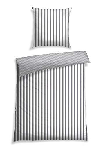 Schiesser Bettwäsche Renforcé,Pure Elegance', Größe:135 cm x 200 cm, Farbe:grau-weiß gestreift