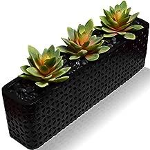 SEEKO Faux Succulents - Potted Artificial Plants for Home Decor Indoor Artificial Succulents - Fake Plants Decor Potted Succulents Office Plants - Faux Potted Plant - Succulent Planter (Black)