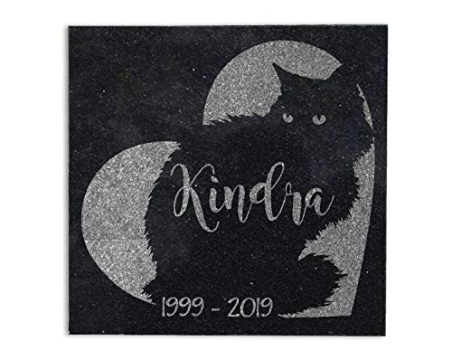 Fluffy Cat Memorial Stone 6x6 Granite Personalize Engraved Sympathy Gift in Memory of Pet Loss Grave Marker
