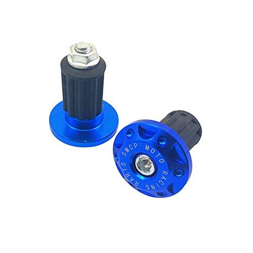 Apretones de Manillar Moto, 1 Pareja Universal Motocicleta Aluminio Manillar Engranaje balanceado tapón Deslizante manija de Barra Extremo Pesos de extremidades Garras Tapa (Color : Blue)