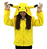 King Ma Women's Cartoon Zipper up Hooded Tops Pikachu Cosplay Sports Top Yellow