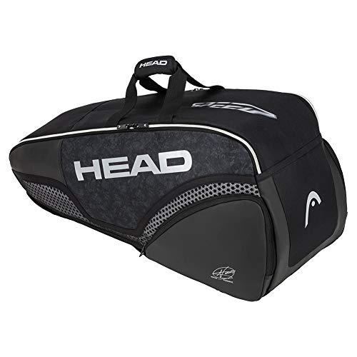 HEAD Mochila de Tenis Unisex para Adultos Djokovic 6R Combi Negro/Blanco, 77 x 35 x 29 cm