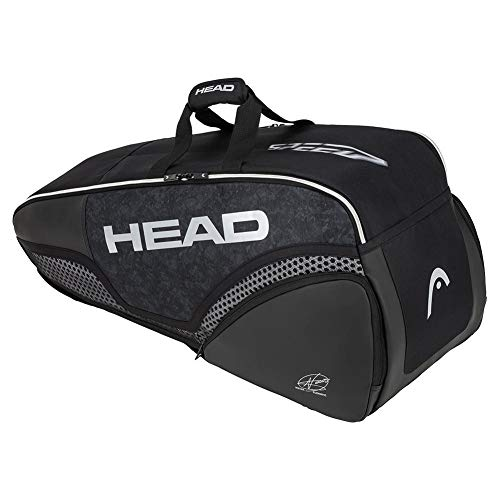HEAD Unisex – Adulto Djokovic 6R Combi Tennisttasche Black/White, 77 x 35...