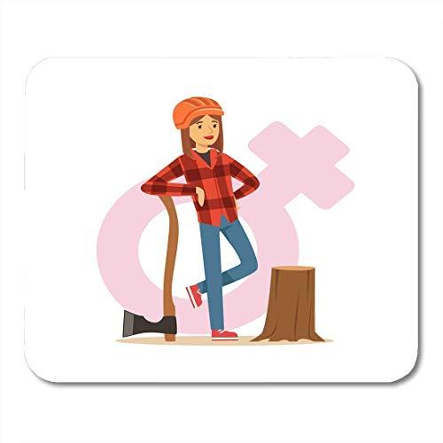 Aucamp mauspads holzfällerin in arbeitskleidung und schutzhelm in der nähe des baumstumpfs mit axt weiblich gegen traditionelles männliches mauspad für notebooks, Desktop-computer-matten büromaterial